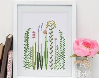 Wildflower Grass cross stitch pattern| Modern nature easy counted chart| Cute botanical beginner nursery design| Instant download pdf