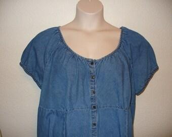 Women's vintage soft demin peasant top size 4X