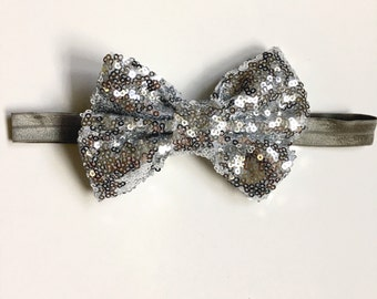 Silver sequin bow headband