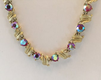 Vintage CORO Red Aurora Borealis Rhinestone Choker Necklace