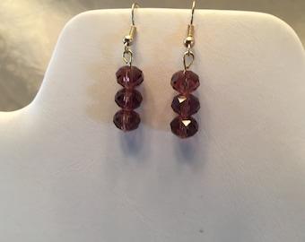 Purple Swarovski Crystal Beaded Gold Tone Pierced Earrings