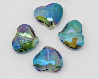 Green Magic Crystal Vitrail Heart Beads 18 x 16 mm / Two Tone Crystal Beads / Heart Beads / Mystic Crystal Heart Beads