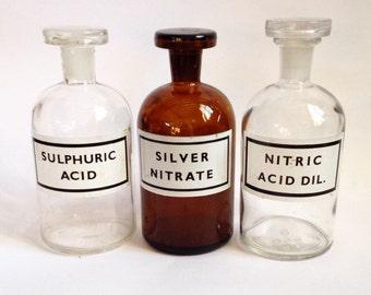Set of Vintage Apothecary Bottles