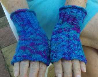Fingerless Gloves, Ladies Hand Knitted Cabled Fingerless Gloves/Mittens, Hand Warmers, Winter Warmer Cabled Gloves,