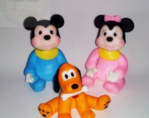 Set of 3 Inspired  Disney,Mickey Mouse,Minnie Mouse and  Pluto handmade cake topper polymer (cold porcelain)