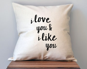 Parks and Recreation I love you and I like you Pillow Cover, 18 x 18 Pillow Cover, Parks and Recreation Pillow Cover, Mothers Day Gift