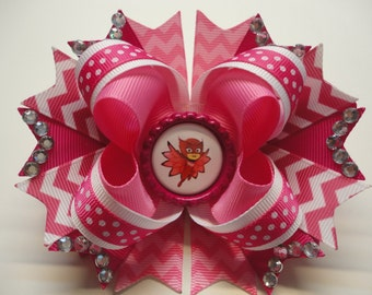 """PJ Masks  Owlette Boutique Stacked Hair Bow  Pink/White W 5.0"""" x L 4.5"""" x H 2.0"""""""