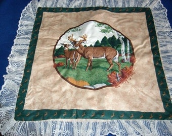 Buck and Deer in Field Setting Pillow Top