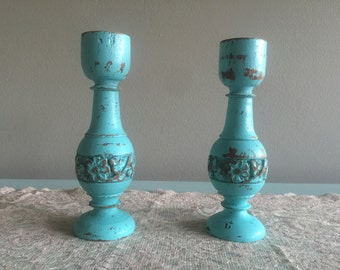 Shabbychic turquoise candlestick holders distressed painted wooden vintage candleholders