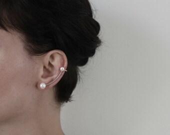 Silver ear cuff with white pearls. Unique design modern ear cuff. Minimalistic ear cuff.