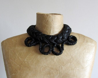 Chunky fabric necklace, black faux leather, goth choker, tribal statement, upcycled recycled repurposed. Unique handmade gift for her. OOAK.