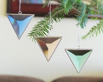 Geometric Glass Ornaments Christmas Tree Decorations, Triangle Stained Glass Suncatchers, Holiday Gift Set, Stocking Stuffers, Set of Three