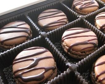 natural macarons, 12 chocolate drizzle macarons,  ottawa macarons, macarons, french macaroons, french cookies, wedding gift, wedding favors