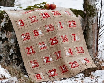 Needlepoint pattern ADVENT CALENDAR - cross stitch,scandinavian christmas,needlepoint,embroidery pattern,burlap,swedish,heirloom,diy,red