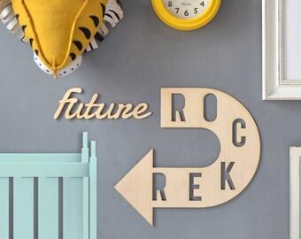 Personalised Children's Room Arrow Sign - Nursery Decor - Custom Wall Art - Wall Decor - Arrow Wall Art - Baby Shower Gift - Wall Art