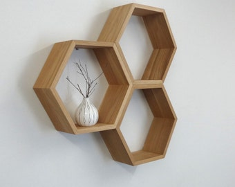 LIMITED RELEASE // Hexagon Wooden Shelf // Shadow Box // American Oak