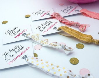 Hen Party Hair Ties - Hair Ties - Hen Party Favours - Bridal Shower Favours - Hair Bands for Women - Hair band bracelet