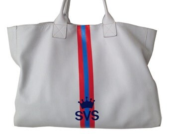 JAKE Tote in White color leather  with painted stripes in Red, Light Blue and Red with initials Crown symbol and initials in Royal Blue