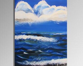 Seascape Painting, Oceanscape Original Artwork, Ocean Decor, Beach Art, Coastal Designs, Seashore Decor
