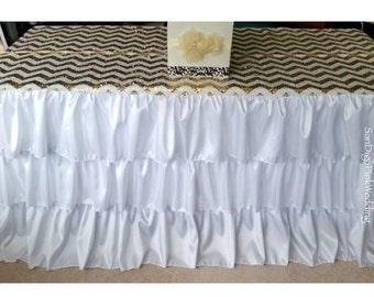 Ruffled Tablecloth, Ruffled Tableskirt, White Ruffled Tablecloth, White Ruffled Tableskirt, Ruffled Wedding Tablecloth