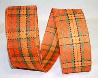 Autumn Plaid Stitch Ribbon -WE - 2 Widths - 25YDS