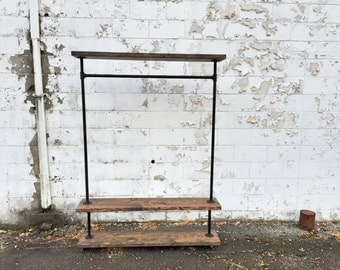 """55"""" Iron Pipe Clothes Rack """"Triple Tier"""""""
