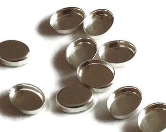 Sterling Silver Oval Bezel Cups 6mm x 4mm