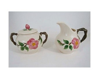 Vintage Franciscan Desert Rose Sugar Bowl and Creamer Perfect Condition!