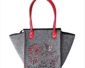 BIRD BAG > tote bag > shoulder bag > handbag > shopping bag > adaptable > Felt, Tarp, Leather > grey/red/white > Laser cut ornament