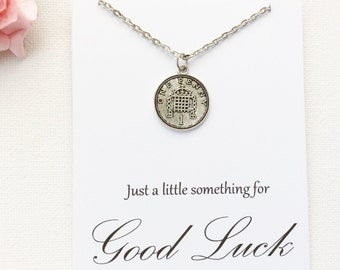 Silver lucky penny Necklace, good luck gift, bon voyage gift, good luck present, lucky penny, good luck, goodbye gift, , christmas gift