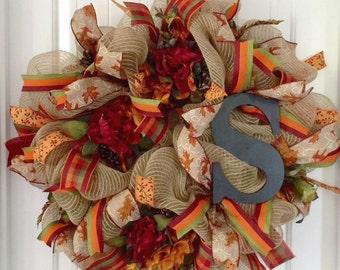 Fall Door Wreath, Monogram Wreath, Autumn Door Wreath, Personalized Wreath, Wreath For Fall, Thanksgiving Door Wreath, Fall Burlap Wreath