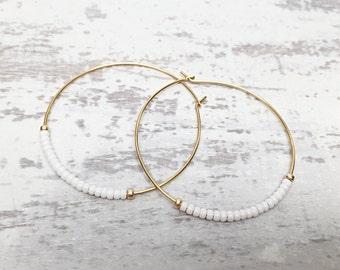 White thin hoop earrings, dangly hoop earring, beaded gold earrings, dangle hoop earrings, white hoop earrings, gold  hoop