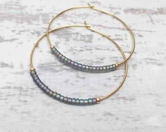 Classic thin hoop earrings, beaded gold hoop earring, beaded gold earrings, dangle hoop earrings, hoop earrings, gold  hoop