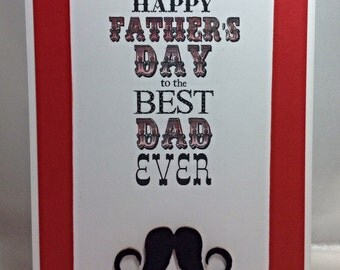 Father's Day card, Happy Father's Day, card for dad, red handmade card, moustache card
