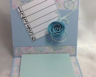 Blue Post It Note Holder, Mothers Day gift, teacher gift, handmade gift, gift for friend, blue rose