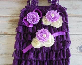 purple lace romper,purple baby romper,purple romper,photo shoot romper,purple rompers,girl lace romper,purple baby romper,smash cake romper,