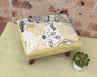 SOLD -upholstered footstool, ottoman , foot stool, pouff,stool