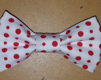 Red and White Polka Dot Bowtie for Toddlers, Boys, and Men