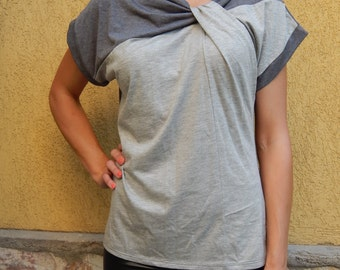 HI-LOW Blouse / Tunic with short sleeves/T-shirt