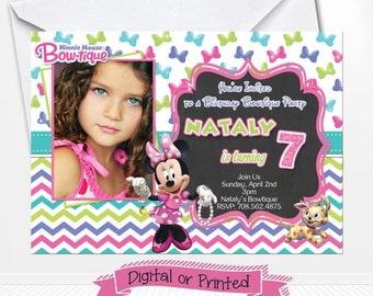Disney Minnie Mouse Bowtique Birthday Invitations Printed with Envelopes or Digital Copy 24 Hr Turnaround! Pink Minnie Party Supplies