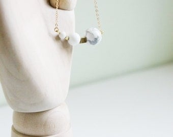 Howlite necklace. White marble necklace. white howlite. white jade necklace. minimalist necklace. jade necklace