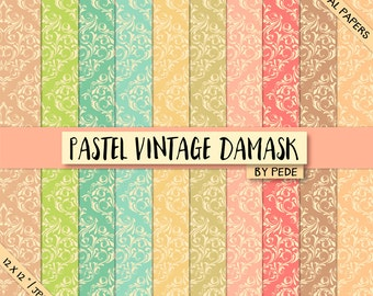 BUY 3 FOR 8 USD, Pastel vintage damask digital paper pack, digital damask, coral, blue, pink, green, damask printable, download