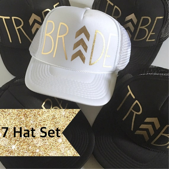 7 Chevron Bride Tribe Hat SET| Bride Hat| Bachelorette hats| 1 White Bride, 6 Black Tribe Hats-with Gold vinyl lettering