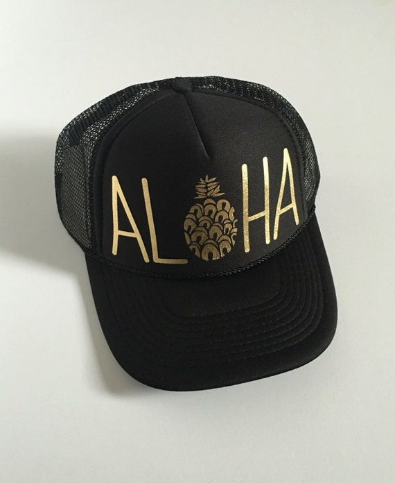Aloha Trucker Hat| Aloha Hat| Hawaii Hat|Pineapple | Trucker Hat|Beach Hat|Black-Gold Vinyl Print