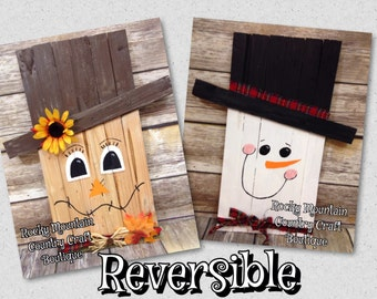 Scarecrow and Snowman Decoration Reversible (wooden/handpainted/handmade/country)