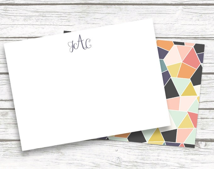 Geometric Print Monogram Note Cards Stationery , Multi Color Notecards Matching Back Design, Bridesmaid Gift, Printed or Printable Options