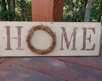 Home Wood Sign, Rustic Home Decor, Home Sign with Wreath, New Home Housewarming Gift, Home Wooden Sign, Rustic Wooden Sign, Housegift