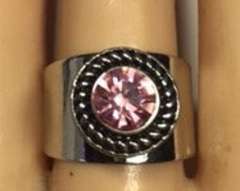 SILVER SNAP RING- ..adjustable. Fits 12mm snaps ...snap included...