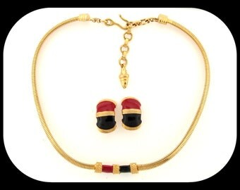Vintage Signed Designer Gay Boyer Gold Plated Enamel Necklace Clip On Earrings Demi Parure SET c1980