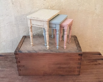 Miniature Side Table, French Country Table, Miniature Nesting Tables, Miniature Stacking Tables, Miniature Table Set